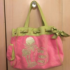 Juicy Couture terry cloth and leather handbag